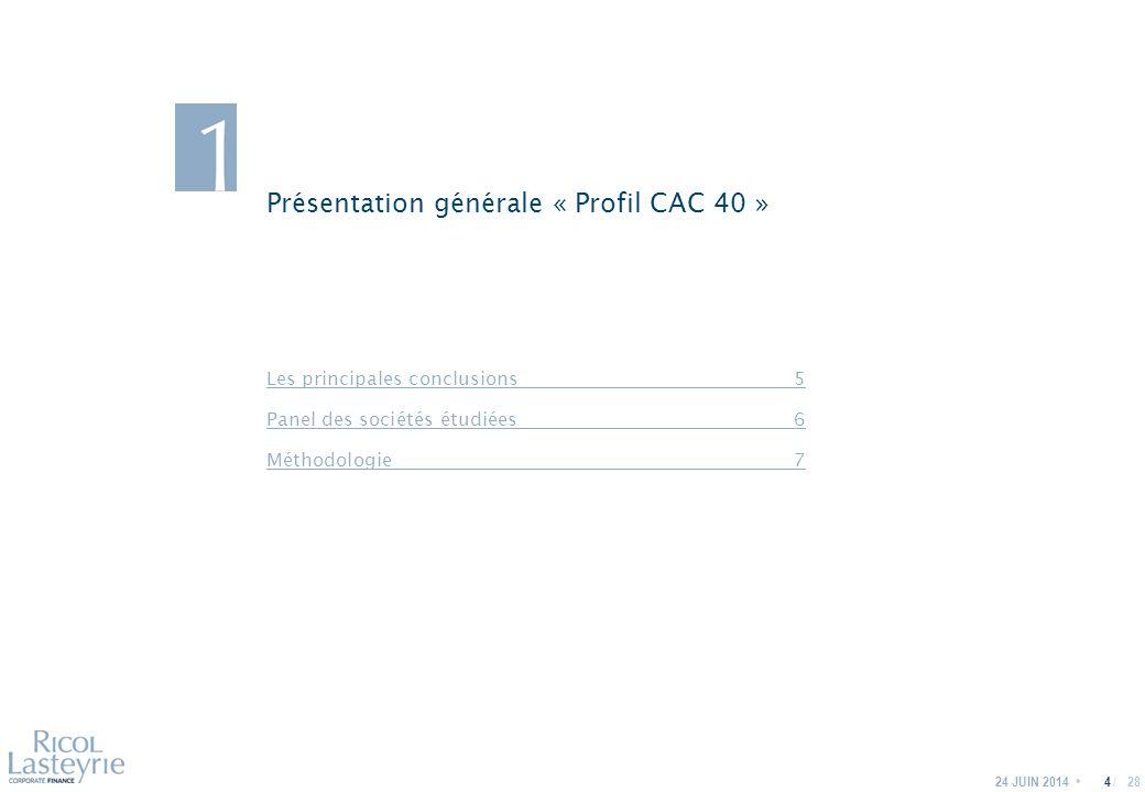 / Présentation générale « Profil CAC 40 » 24 JUIN 20144 Les principales conclusions5 Panel des sociétés étudiées6 Méthodologie7 28