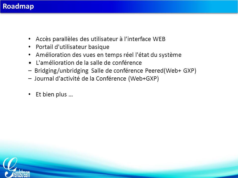 Roadmap Accès parallèles des utilisateur à l'interface WEB Portail d utilisateur basique Amélioration des vues en temps réel l état du système L amélioration de la salle de conférence – Bridging/unbridging Salle de conférence Peered(Web+ GXP) – Journal d activité de la Conférence (Web+GXP) Et bien plus …