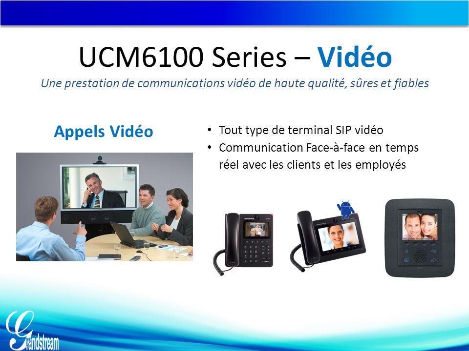 Appels Vidéo Tout type de terminal SIP vidéo Communication Face-à-face en temps réel avec les clients et les employés UCM6100 Series – Vidéo Une prestation de communications vidéo de haute qualité, sûres et fiables