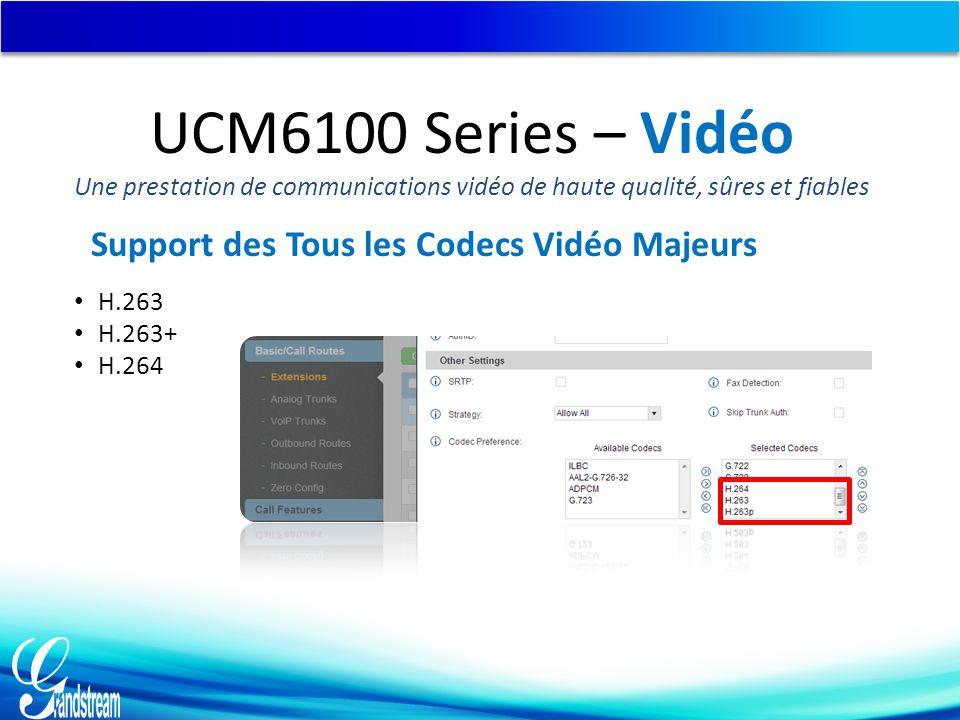 Support des Tous les Codecs Vidéo Majeurs H.263 H.263+ H.264 UCM6100 Series – Vidéo Une prestation de communications vidéo de haute qualité, sûres et fiables
