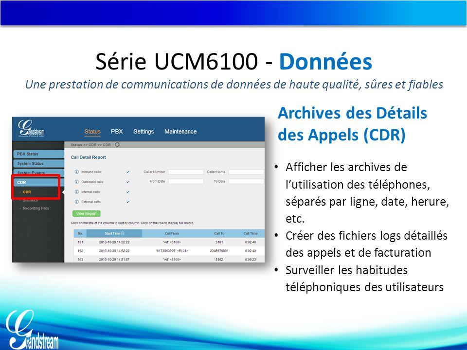 Série UCM6100 - Données Une prestation de communications de données de haute qualité, sûres et fiables Afficher les archives de l'utilisation des téléphones, séparés par ligne, date, herure, etc.