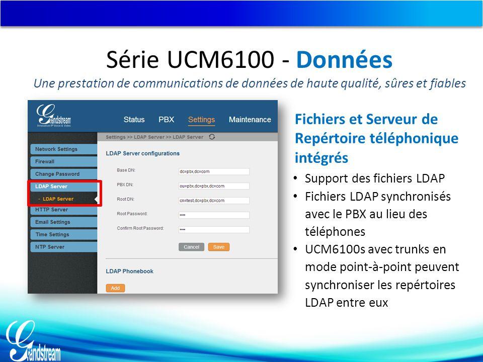Support des fichiers LDAP Fichiers LDAP synchronisés avec le PBX au lieu des téléphones UCM6100s avec trunks en mode point-à-point peuvent synchroniser les repértoires LDAP entre eux Fichiers et Serveur de Repértoire téléphonique intégrés Série UCM6100 - Données Une prestation de communications de données de haute qualité, sûres et fiables