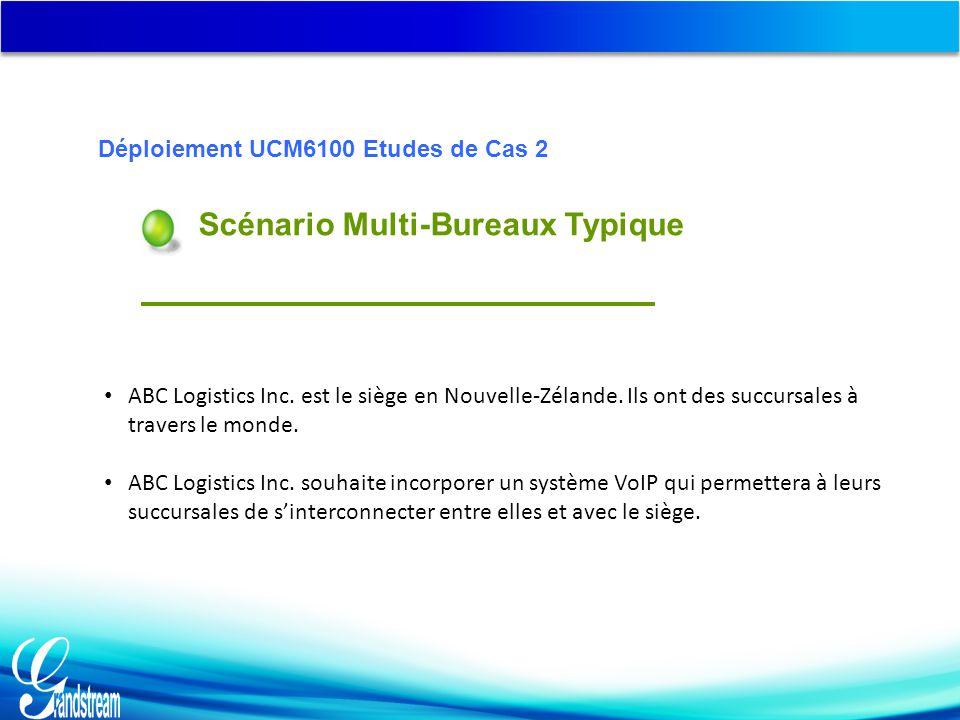 Scénario Multi-Bureaux Typique Déploiement UCM6100 Etudes de Cas 2 ABC Logistics Inc.