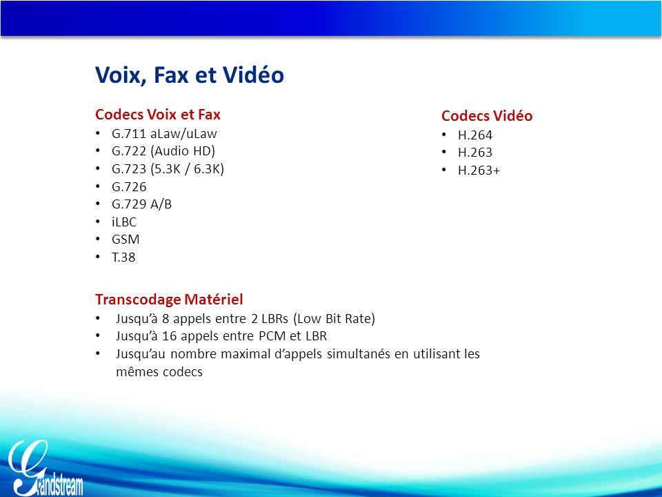 Codecs Voix et Fax G.711 aLaw/uLaw G.722 (Audio HD) G.723 (5.3K / 6.3K) G.726 G.729 A/B iLBC GSM T.38 Codecs Vidéo H.264 H.263 H.263+ Transcodage Matériel Jusqu'à 8 appels entre 2 LBRs (Low Bit Rate) Jusqu'à 16 appels entre PCM et LBR Jusqu'au nombre maximal d'appels simultanés en utilisant les mêmes codecs Voix, Fax et Vidéo