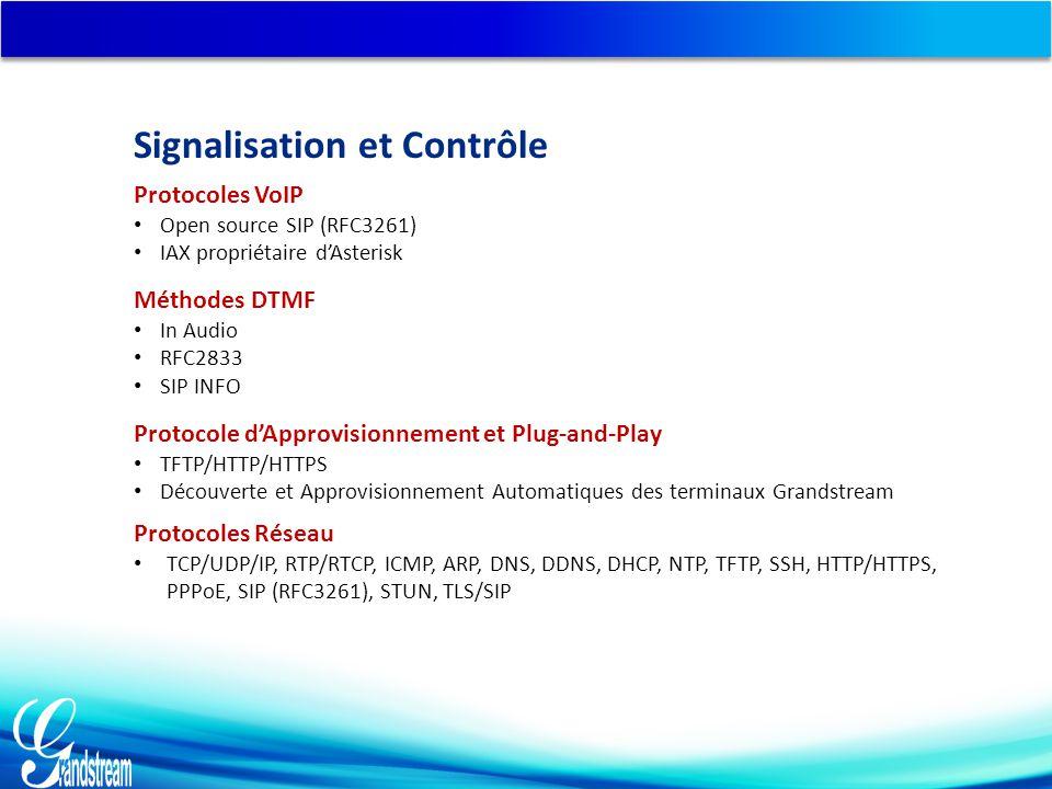 Méthodes DTMF In Audio RFC2833 SIP INFO Protocole d'Approvisionnement et Plug-and-Play TFTP/HTTP/HTTPS Découverte et Approvisionnement Automatiques des terminaux Grandstream Protocoles Réseau TCP/UDP/IP, RTP/RTCP, ICMP, ARP, DNS, DDNS, DHCP, NTP, TFTP, SSH, HTTP/HTTPS, PPPoE, SIP (RFC3261), STUN, TLS/SIP Protocoles VoIP Open source SIP (RFC3261) IAX propriétaire d'Asterisk Signalisation et Contrôle