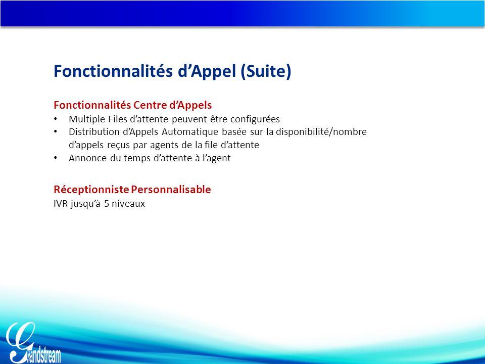 Fonctionnalités Centre d'Appels Multiple Files d'attente peuvent être configurées Distribution d'Appels Automatique basée sur la disponibilité/nombre d'appels reçus par agents de la file d'attente Annonce du temps d'attente à l'agent Réceptionniste Personnalisable IVR jusqu'à 5 niveaux Fonctionnalités d'Appel (Suite)