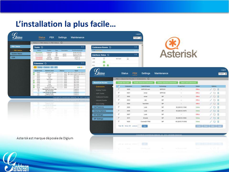 Asterisk est marque déposée de Digium L'installation la plus facile…