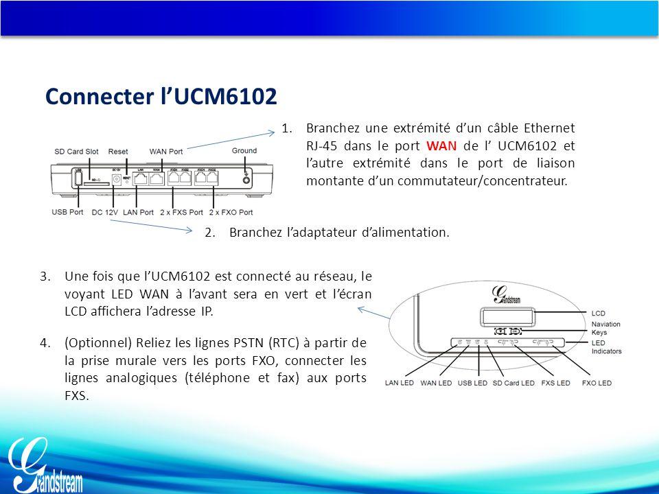 Connecter l'UCM6102 3.Une fois que l'UCM6102 est connecté au réseau, le voyant LED WAN à l'avant sera en vert et l'écran LCD affichera l'adresse IP.