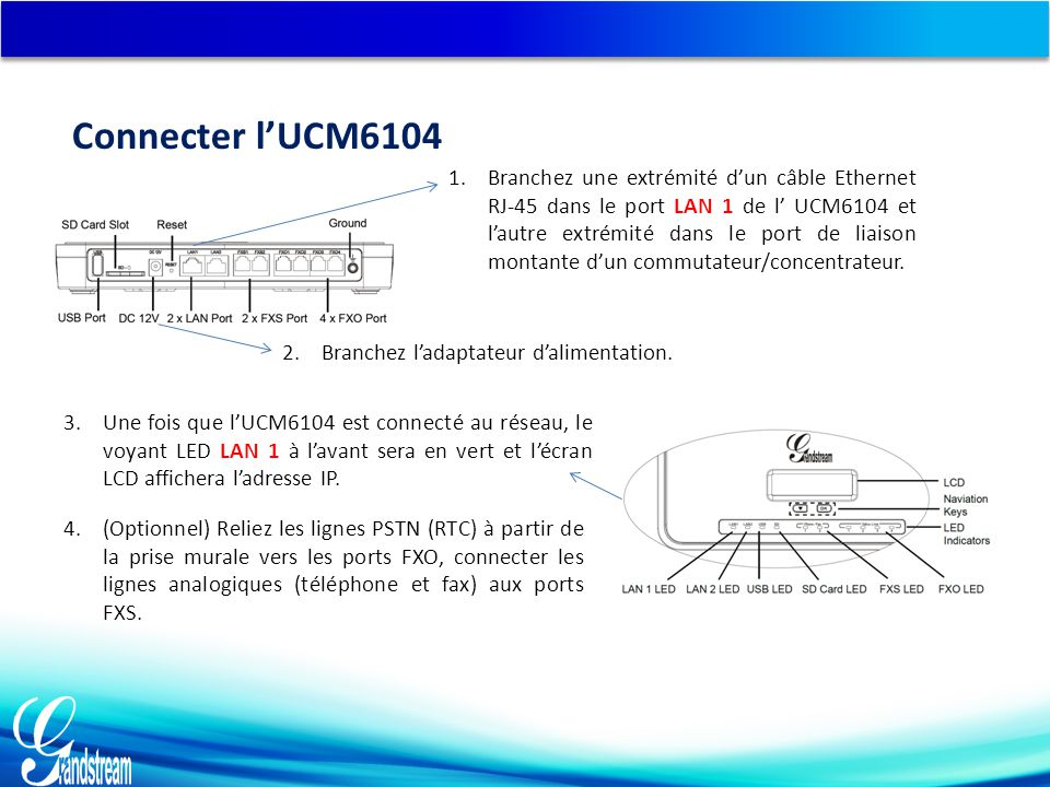 Connecter l'UCM6104 3.Une fois que l'UCM6104 est connecté au réseau, le voyant LED LAN 1 à l'avant sera en vert et l'écran LCD affichera l'adresse IP.
