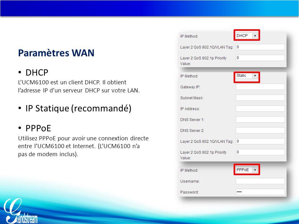 DHCP L'UCM6100 est un client DHCP.Il obtient l'adresse IP d'un serveur DHCP sur votre LAN.