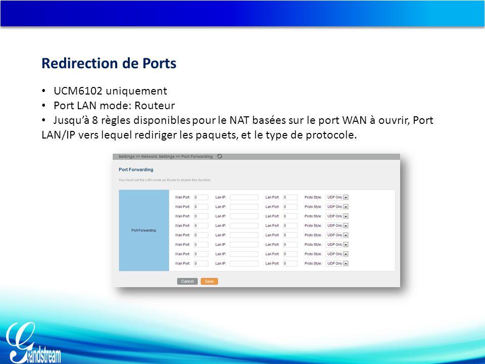 UCM6102 uniquement Port LAN mode: Routeur Jusqu'à 8 règles disponibles pour le NAT basées sur le port WAN à ouvrir, Port LAN/IP vers lequel rediriger les paquets, et le type de protocole.