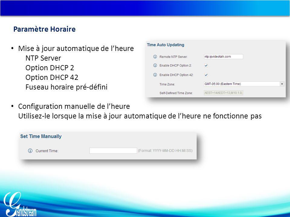 Mise à jour automatique de l'heure NTP Server Option DHCP 2 Option DHCP 42 Fuseau horaire pré-défini Configuration manuelle de l'heure Utilisez-le lorsque la mise à jour automatique de l'heure ne fonctionne pas Paramètre Horaire
