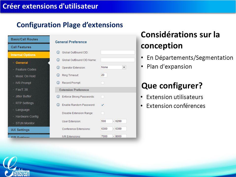 Créer extensions d utilisateur En Départements/Segmentation Plan d expansion Considérations sur la conception Que configurer.