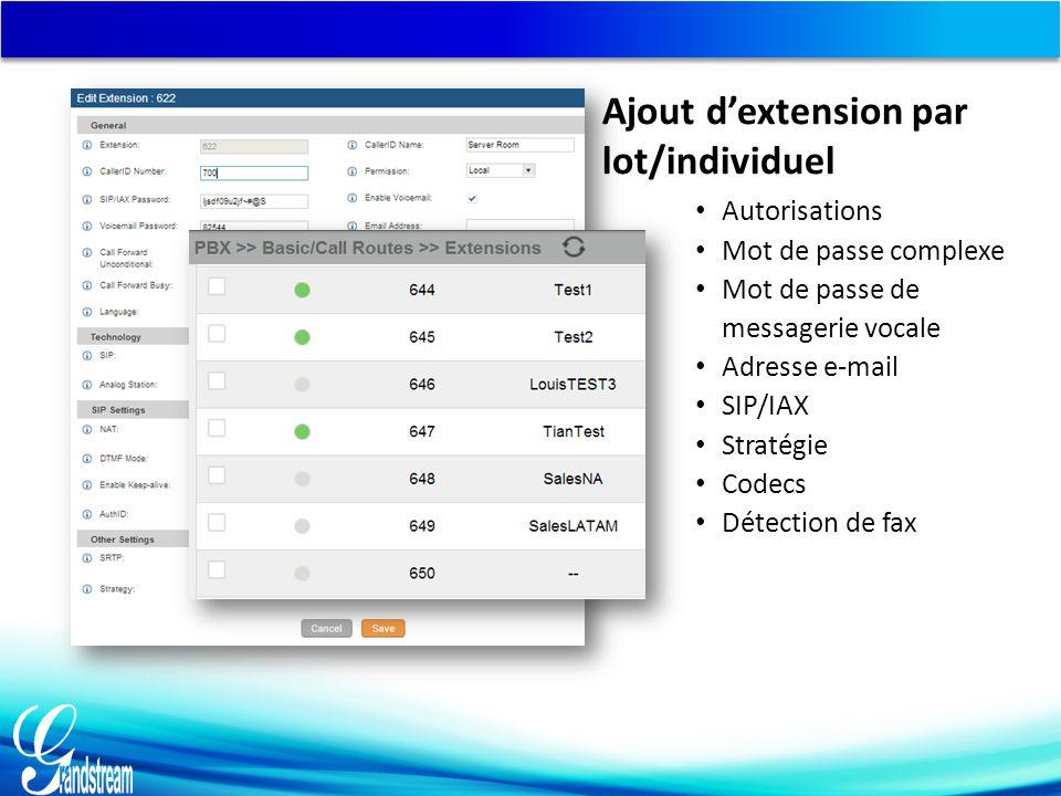 Autorisations Mot de passe complexe Mot de passe de messagerie vocale Adresse e-mail SIP/IAX Stratégie Codecs Détection de fax Ajout d'extension par lot/individuel