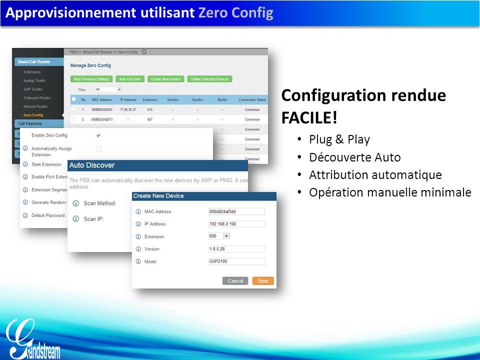 Approvisionnement utilisant Zero Config Plug & Play Découverte Auto Attribution automatique Opération manuelle minimale Configuration rendue FACILE!
