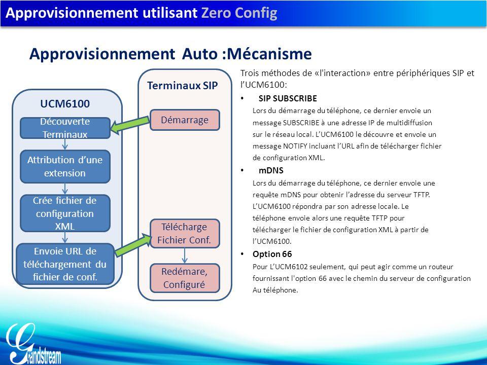 Approvisionnement utilisant Zero Config Trois méthodes de «l interaction» entre périphériques SIP et l'UCM6100: SIP SUBSCRIBE Lors du démarrage du téléphone, ce dernier envoie un message SUBSCRIBE à une adresse IP de multidiffusion sur le réseau local.
