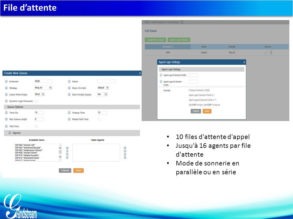 File d'attente 10 files d attente d appel Jusqu à 16 agents par file d attente Mode de sonnerie en parallèle ou en série