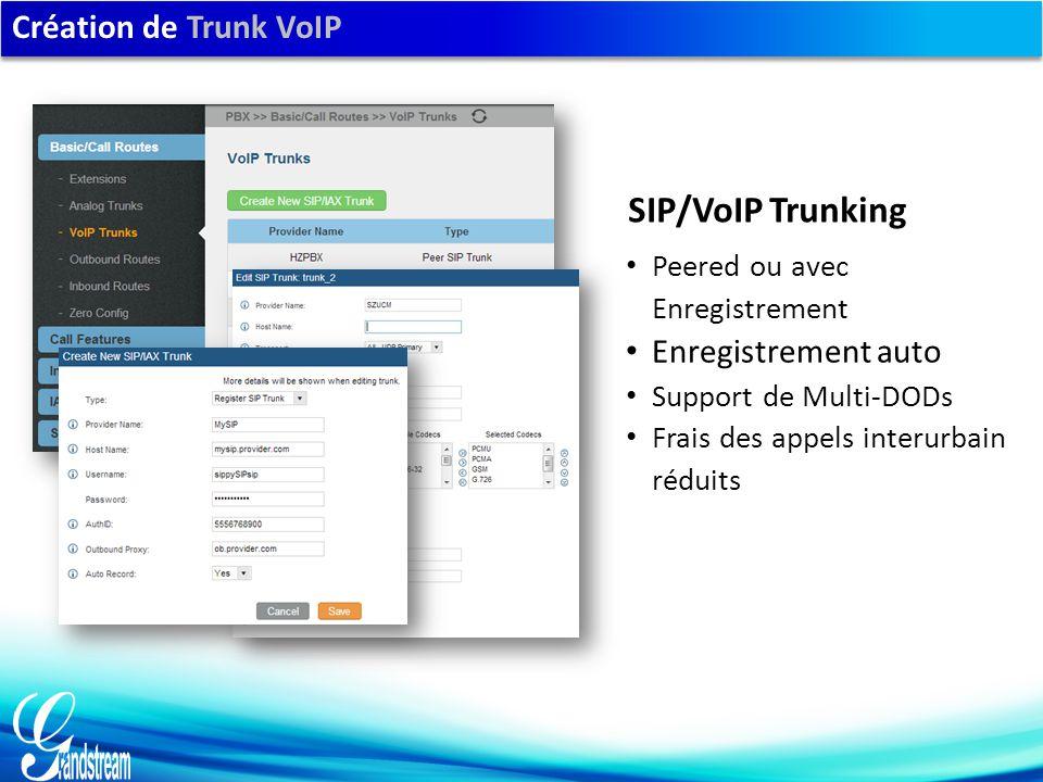 Création de Trunk VoIP Peered ou avec Enregistrement Enregistrement auto Support de Multi-DODs Frais des appels interurbain réduits SIP/VoIP Trunking