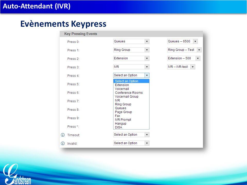 Auto-Attendant (IVR) Evènements Keypress