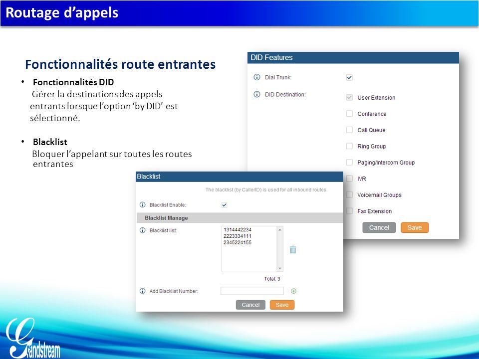 Routage d'appels Fonctionnalités DID Gérer la destinations des appels entrants lorsque l'option 'by DID' est sélectionné.
