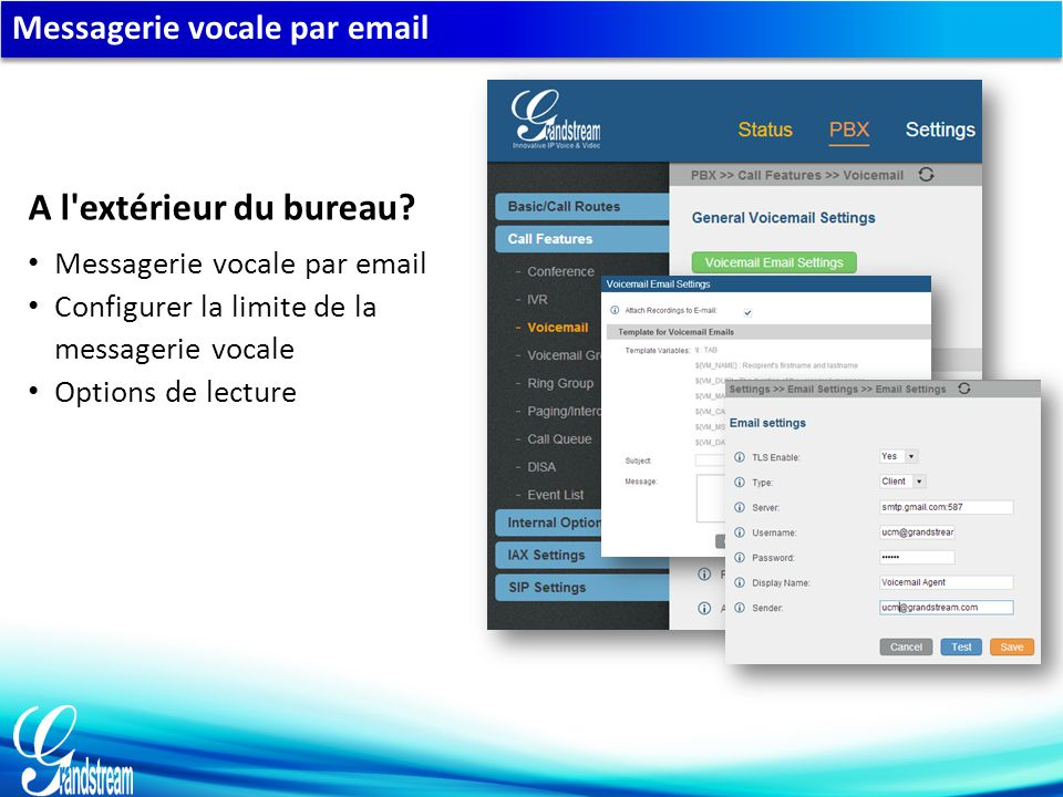 Messagerie vocale par email Configurer la limite de la messagerie vocale Options de lecture A l'extérieur du bureau?