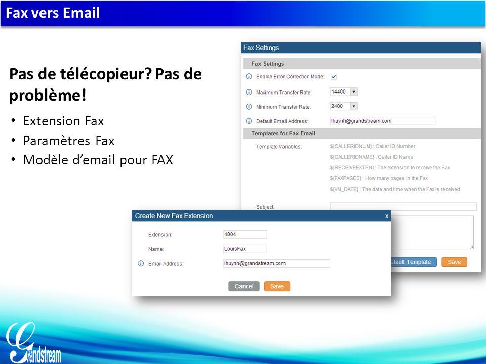 Fax vers Email Extension Fax Paramètres Fax Modèle d'email pour FAX Pas de télécopieur.