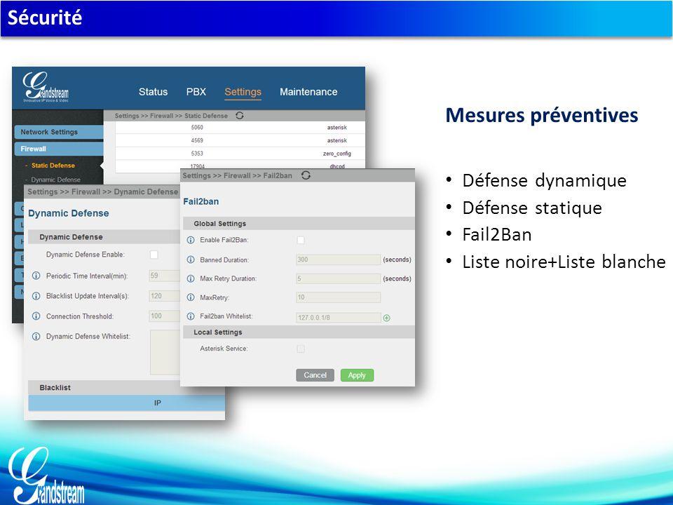 Sécurité Défense dynamique Défense statique Fail2Ban Liste noire+Liste blanche Mesures préventives