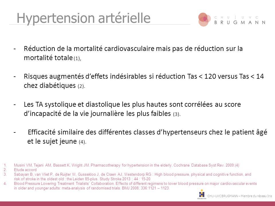 CHU-UVC BRUGMANN – Membre du réseau Iris Hypertension artérielle -Réduction de la mortalité cardiovasculaire mais pas de réduction sur la mortalité to