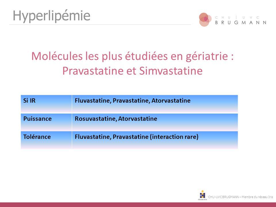 CHU-UVC BRUGMANN – Membre du réseau Iris Hyperlipémie Molécules les plus étudiées en gériatrie : Pravastatine et Simvastatine Si IRFluvastatine, Prava