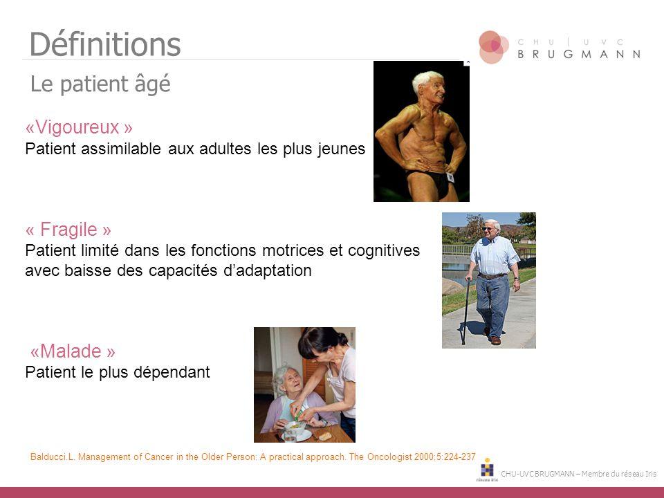CHU-UVC BRUGMANN – Membre du réseau Iris Définitions Le patient âgé «Vigoureux » Patient assimilable aux adultes les plus jeunes « Fragile » Patient l