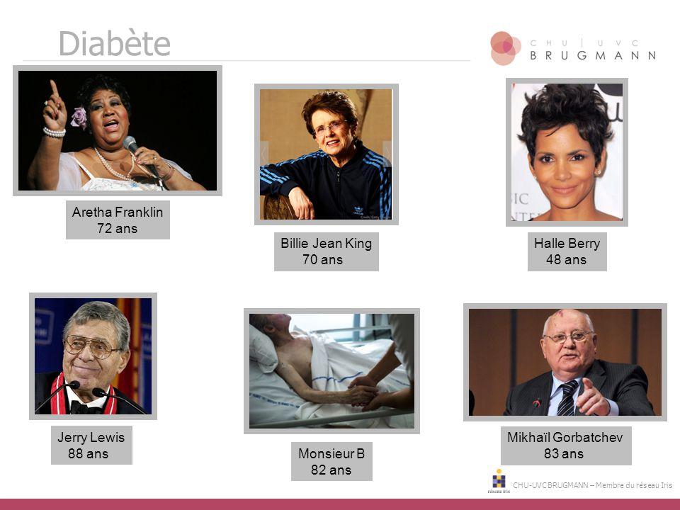 CHU-UVC BRUGMANN – Membre du réseau Iris Jerry Lewis 88 ans Aretha Franklin 72 ans Billie Jean King 70 ans Mikhaïl Gorbatchev 83 ans Halle Berry 48 an