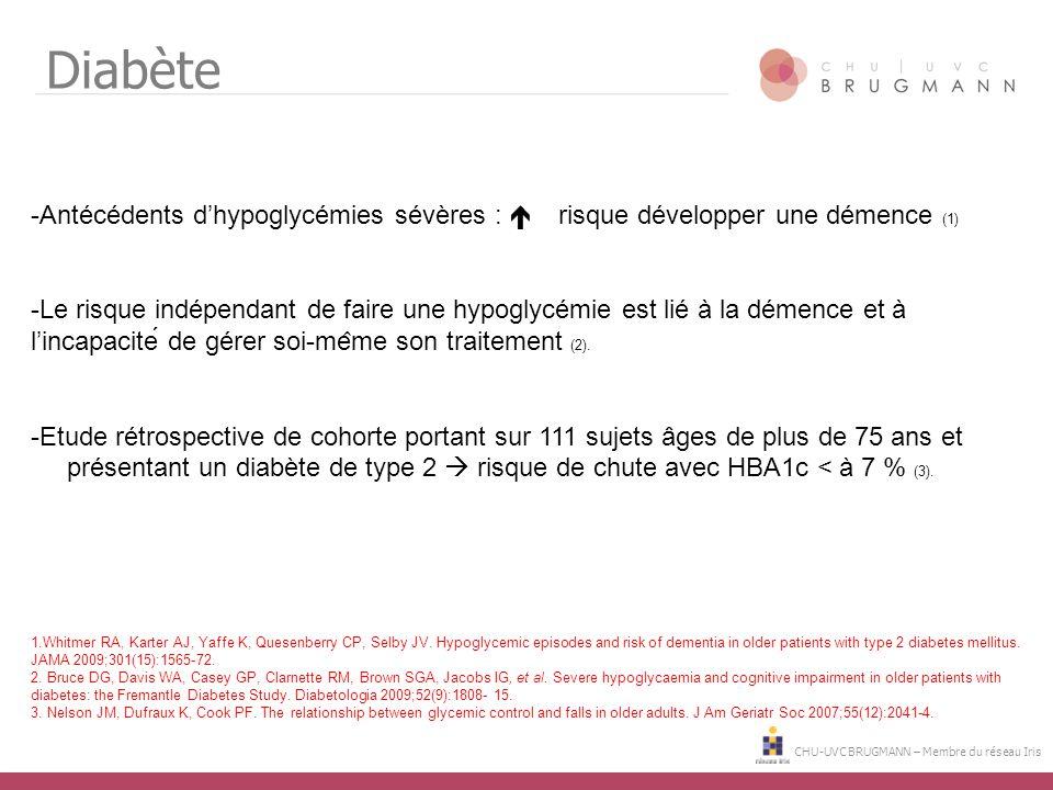 CHU-UVC BRUGMANN – Membre du réseau Iris Diabète -Antécédents d'hypoglycémies sévères :  risque développer une démence (1) -Le risque indépe