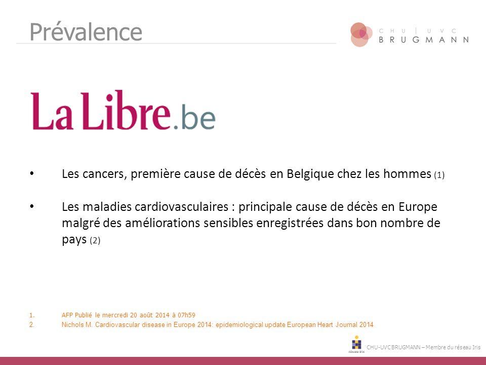 CHU-UVC BRUGMANN – Membre du réseau Iris Prévalence Les cancers, première cause de décès en Belgique chez les hommes (1) Les maladies cardiovasculaire
