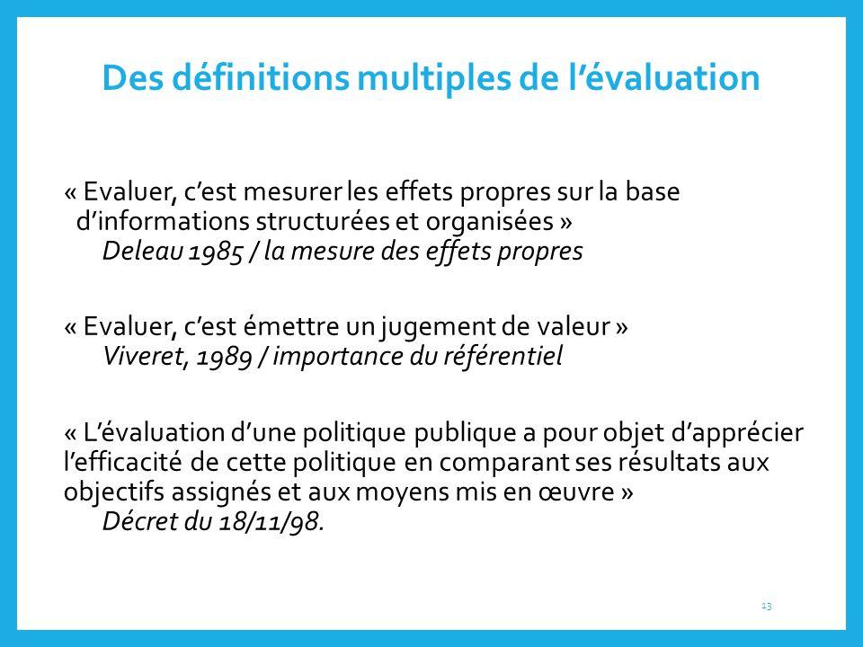 Des définitions multiples de l'évaluation « Evaluer, c'est mesurer les effets propres sur la base d'informations structurées et organisées » Deleau 19