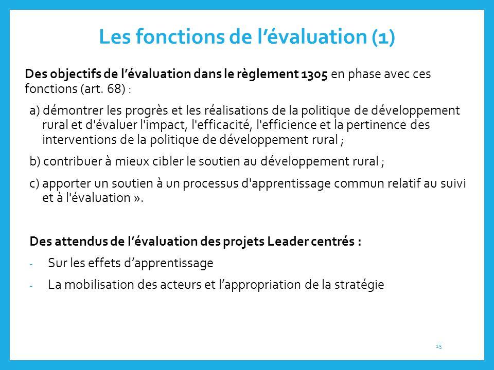 Les fonctions de l'évaluation (1) Des objectifs de l'évaluation dans le règlement 1305 en phase avec ces fonctions (art. 68) : a) démontrer les progrè