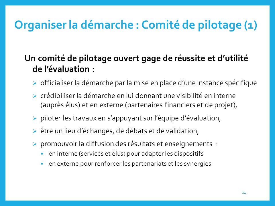 Organiser la démarche : Comité de pilotage (1) 3.2. Un comité de pilotage ouvert gage de réussite et d'utilité de l'évaluation :  officialiser la dém