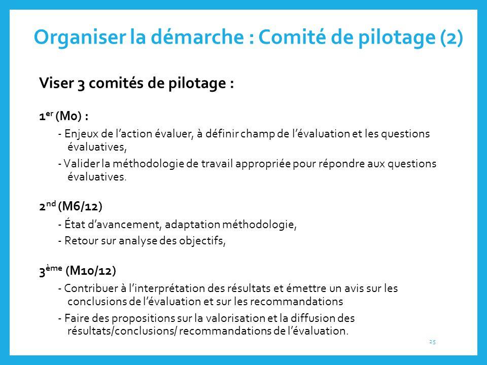 Organiser la démarche : Comité de pilotage (2) Viser 3 comités de pilotage : 1 er (M0) : - Enjeux de l'action évaluer, à définir champ de l'évaluation