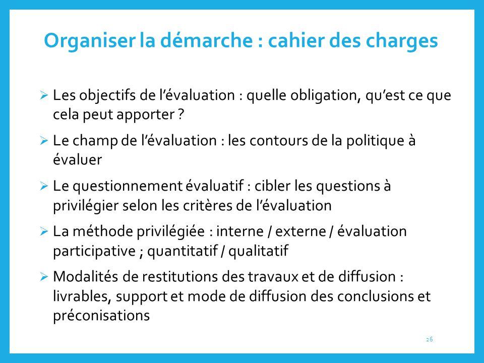 Organiser la démarche : cahier des charges  Les objectifs de l'évaluation : quelle obligation, qu'est ce que cela peut apporter ?  Le champ de l'éva