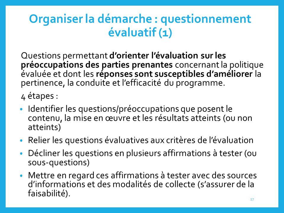 Organiser la démarche : questionnement évaluatif (1) 3.2. Questions permettant d'orienter l'évaluation sur les préoccupations des parties prenantes co