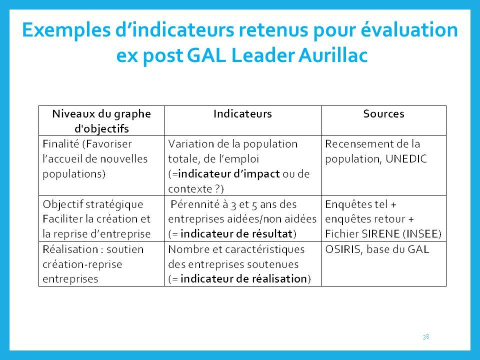 Exemples d'indicateurs retenus pour évaluation ex post GAL Leader Aurillac 38