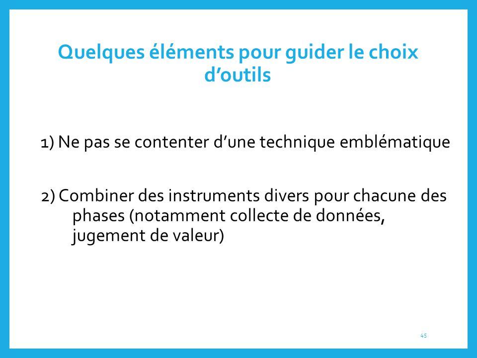 Quelques éléments pour guider le choix d'outils 1) Ne pas se contenter d'une technique emblématique 2) Combiner des instruments divers pour chacune de