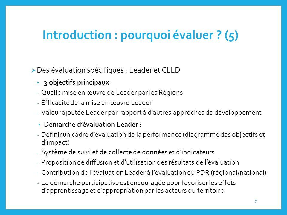 Introduction : pourquoi évaluer ? (5)  Des évaluation spécifiques : Leader et CLLD 3 objectifs principaux : - Quelle mise en œuvre de Leader par les