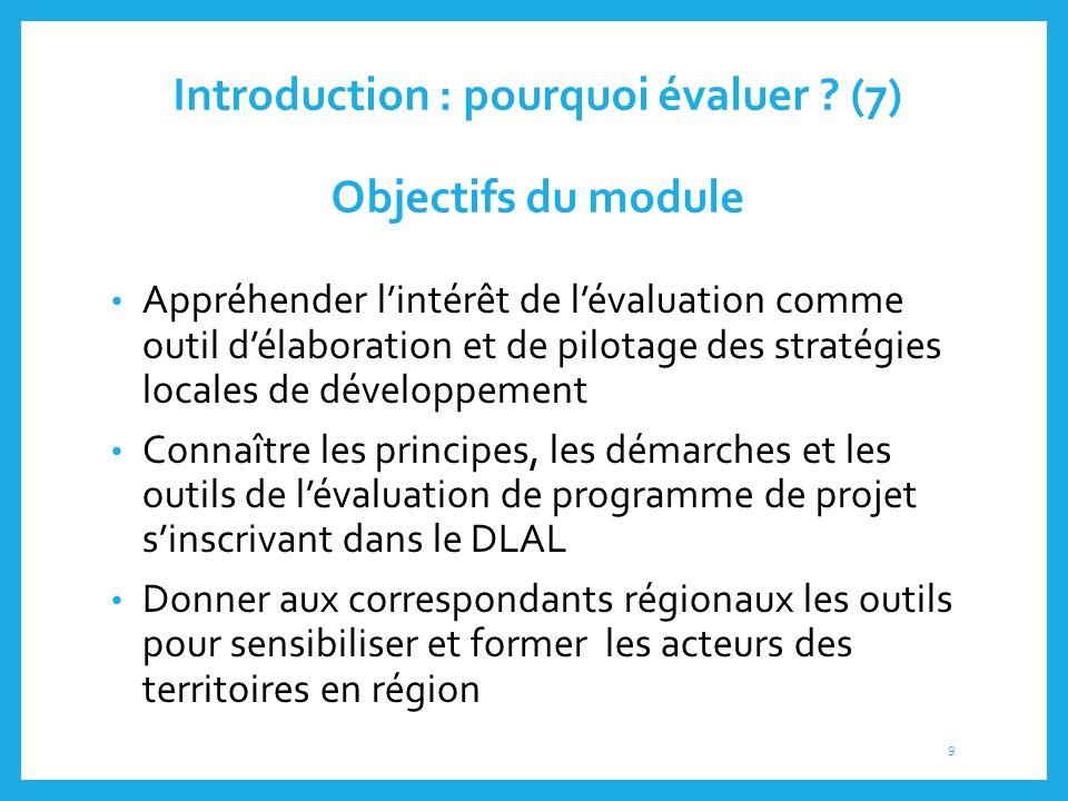 Introduction : pourquoi évaluer ? (7) Objectifs du module Appréhender l'intérêt de l'évaluation comme outil d'élaboration et de pilotage des stratégie