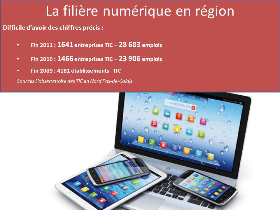 La filière numérique en région Difficile d'avoir des chiffres précis : Fin 2011 : 1641 entreprises TIC – 28 683 emplois Fin 2010 : 1466 entreprises TIC – 23 906 emplois Fin 2009 : 4181 établissements TIC Sources L'observatoire des TIC en Nord Pas-de-Calais