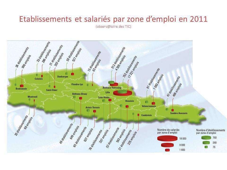 Etablissements et salariés par zone d'emploi en 2011 (observ@toire des TIC)