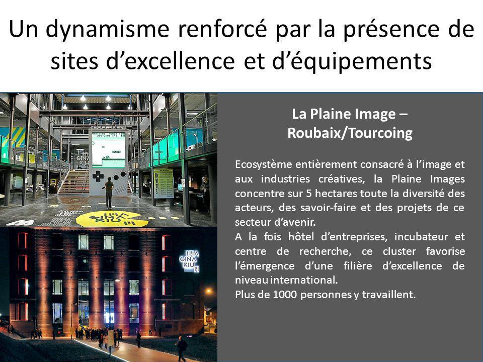 Un dynamisme renforcé par la présence de sites d'excellence et d'équipements La Plaine Image – Roubaix/Tourcoing Ecosystème entièrement consacré à l'image et aux industries créatives, la Plaine Images concentre sur 5 hectares toute la diversité des acteurs, des savoir-faire et des projets de ce secteur d'avenir.