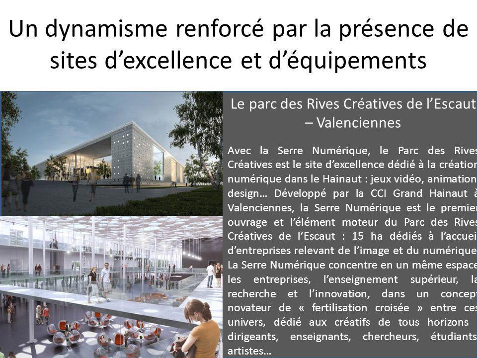Le parc des Rives Créatives de l'Escaut – Valenciennes Avec la Serre Numérique, le Parc des Rives Créatives est le site d'excellence dédié à la création numérique dans le Hainaut : jeux vidéo, animation, design… Développé par la CCI Grand Hainaut à Valenciennes, la Serre Numérique est le premier ouvrage et l'élément moteur du Parc des Rives Créatives de l'Escaut : 15 ha dédiés à l'accueil d'entreprises relevant de l'image et du numérique.