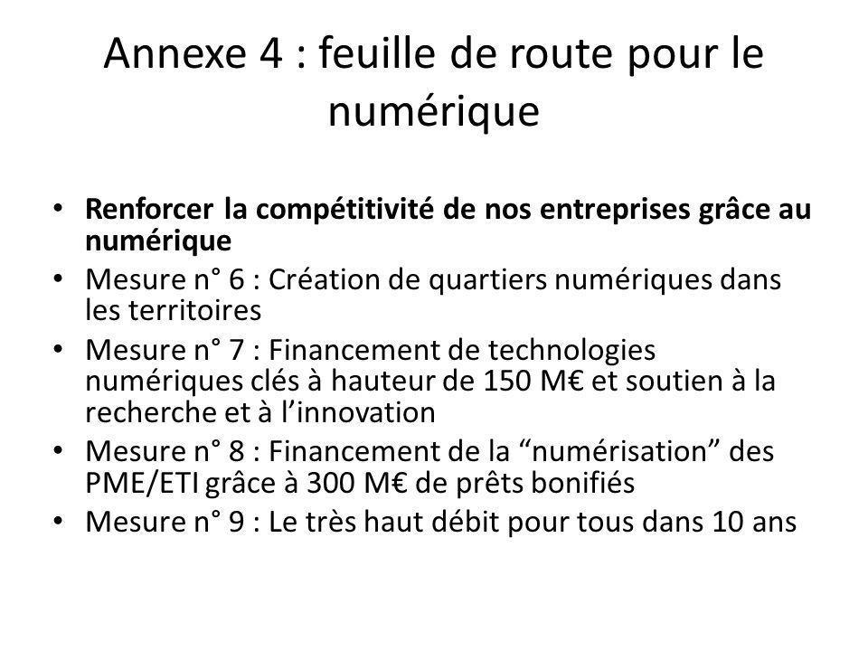Renforcer la compétitivité de nos entreprises grâce au numérique Mesure n° 6 : Création de quartiers numériques dans les territoires Mesure n° 7 : Financement de technologies numériques clés à hauteur de 150 M€ et soutien à la recherche et à l'innovation Mesure n° 8 : Financement de la numérisation des PME/ETI grâce à 300 M€ de prêts bonifiés Mesure n° 9 : Le très haut débit pour tous dans 10 ans Annexe 4 : feuille de route pour le numérique