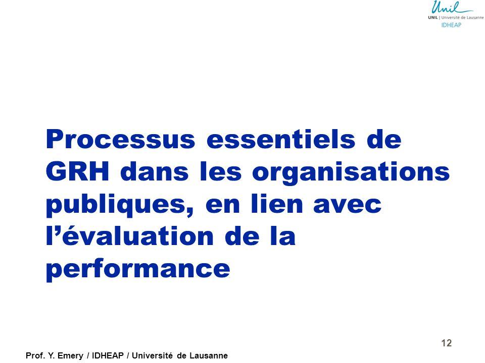 Prof. Y. Emery / IDHEAP / Université de Lausanne Management des performances et intégration des objectifs de l'Etat Objectifs individuels Objectifs in