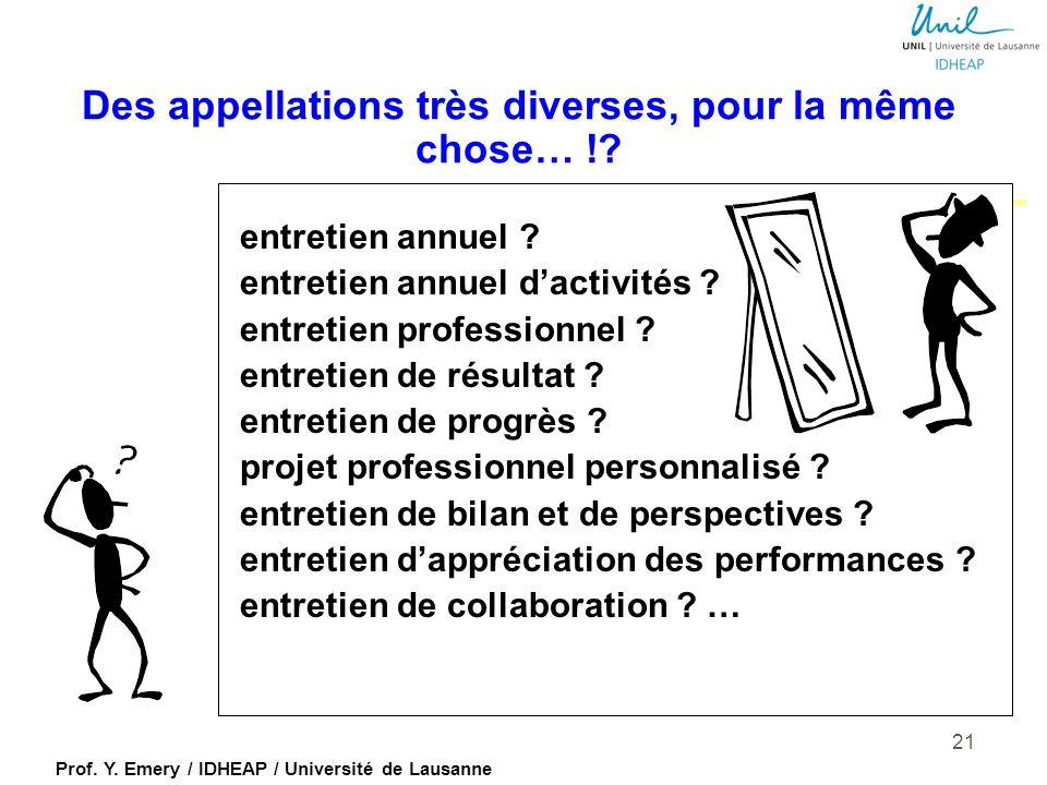 Prof. Y. Emery / IDHEAP / Université de Lausanne Deux visions de l'évaluation des performances …(Tornow, 1993) 20